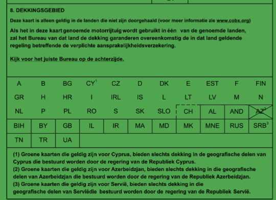 groene kaart dekkingsgebied